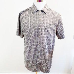 David Taylor Shirt Medium Gray Black Geo L11